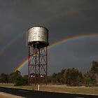 Twin Rainbows Over The Water Tower by DJ Manning