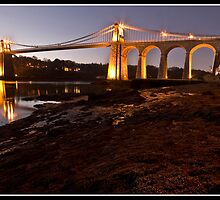 Menai suspension bridge at dusk by Shaun Whiteman