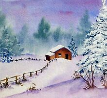 Chalet in Snow by Pamela  West