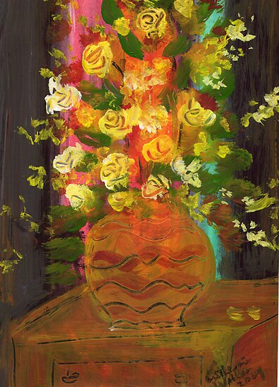 Flowers in a pot 3 by catherine walker