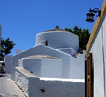 White church in Lindos, Rhodes by Littlest