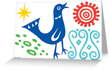 Bird Delight Card - primary by Andi Bird