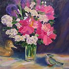 Still Life with Flowers and Fowls by Richard Nowak