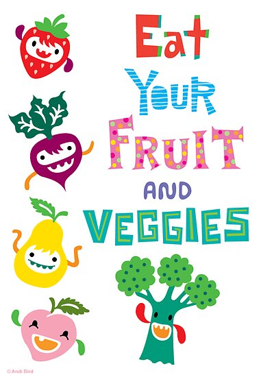 Eat Your Fruit & Veggies ll - card by Andi Bird