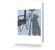 Cafe Shadows - self portrait painting Greeting Card