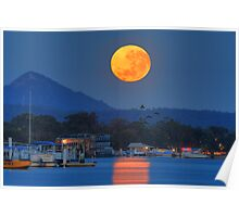 Moonset over Noosa River Poster