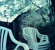 Monochrome of Chairs in Backyard by Quentina Chan