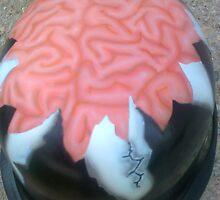Airbrushed Cracks N' Brains helmet by WickedDesigns