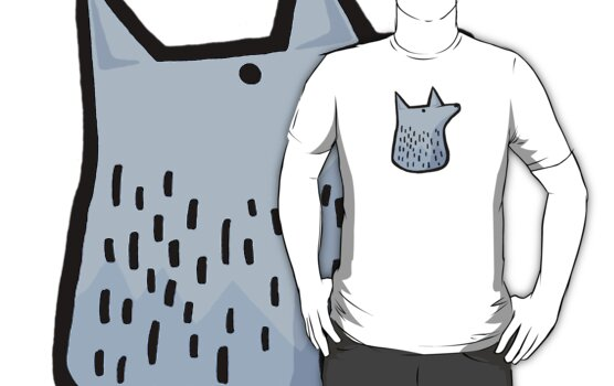Wolf Head for white tee by lauriepink