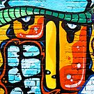 Abstract graffiti on the brick wall by yurix