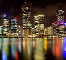 Brisbane Riverside, Australia, by Night by Bob Culshaw