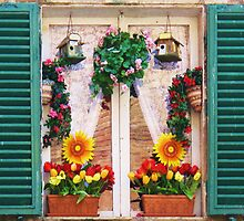 Whimsical Sunflowers and Birdhouses in a Window by creativetravler
