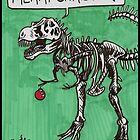T Rex Christmas Card by Kat Anderson