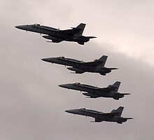 FA/18 Hornets over Avalon. by Bev Pascoe