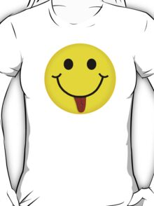 Smiley Face With Pierced Tongue Girly Fitted Short Sleeve T-Shirt T-Shirt