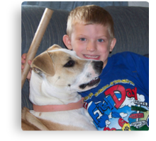jerzy and her buddy caleb playing Canvas Print