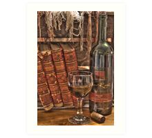 A Good Book and Wine Art Print