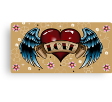 Tattoo Heart with Wings Canvas Print