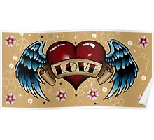 Tattoo Heart with Wings Poster