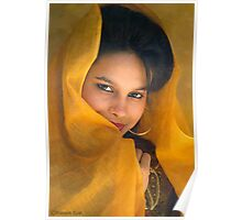 A SHY GIRL WITH YELLOW DRAPE Poster
