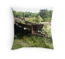 Rusty Farm Wagon Throw Pillow