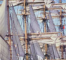 Sailing ship, setting sails by Brian McInerney