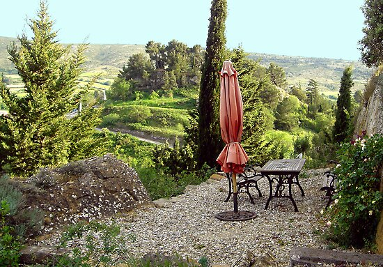 Languedoc Hillside patio by triciamary