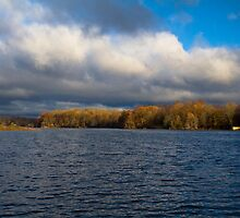 Lake Mamanasco morning before a storm south shore - November by Andrew Hubbell