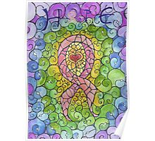 Breast Cancer Ribbon stained glass design Poster