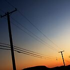 sunset phone poles by Varujhan  Chapanian