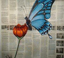 Blue Butterfly on Newspaper by Cherie Roe Dirksen