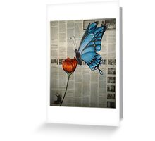 Blue Butterfly on Newspaper Greeting Card