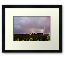 Sunflower Field Thunderstorm Framed Print