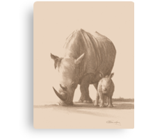 Mother and Baby White Rhino Canvas Print