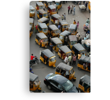YELLOW AUTOCABS OF HYDERABAD Canvas Print