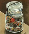 Glass Jar of Buttons by LindaAppleArt