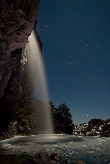 Taranaki Falls in the Freezing Night by Michael Treloar