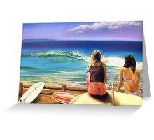 surfing wategos Byron Bay Greeting Card