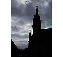 Brittany Church Silhouetted Against a Threatening Sky - France Photographic Print