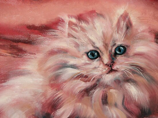Kitty oil painting, and a Heavenly Message by JeffeeArt4u