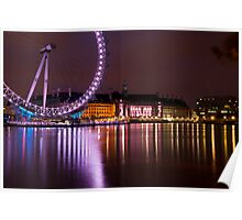 Big Wheels Keep on Turning: The London Eye at Night Poster