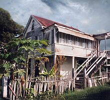 Guyana, typical wood house by Jerry Clitty
