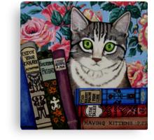 Bella and Books Canvas Print
