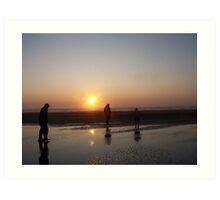Walking The Beach At Sunset Art Print