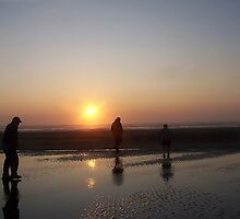 Walking The Beach At Sunset by Jonice