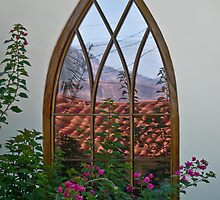 Reflections in a Hobbit window by Linda Sparks