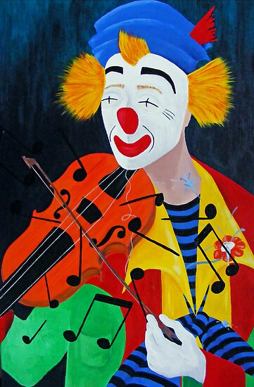 Clown and old violin by Esther's Art and Photography