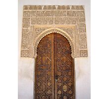 Palace door within the Alhambra, Granada, Spain Photographic Print
