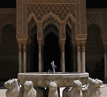 Lion statue fountain, Alhambra, Granada, Spain by Linda More