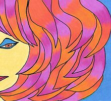 The Girl with Pink and Orange Hair by Geree